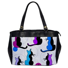 Purple Abstract Cats Office Handbags by Valentinaart