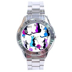 Purple Abstract Cats Stainless Steel Analogue Watch by Valentinaart
