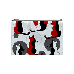 Elegant Abstract Cats  Cosmetic Bag (medium)  by Valentinaart