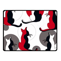 Elegant abstract cats  Fleece Blanket (Small) by Valentinaart