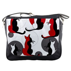Elegant Abstract Cats  Messenger Bags by Valentinaart