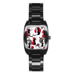 Elegant Abstract Cats  Stainless Steel Barrel Watch by Valentinaart