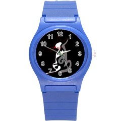 Gray Elegant Cat Round Plastic Sport Watch (s) by Valentinaart