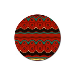 Orange Black And Blue Pattern Rubber Coaster (round)  by theunrulyartist
