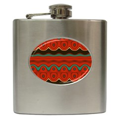 Orange Black And Blue Pattern Hip Flask (6 Oz) by theunrulyartist