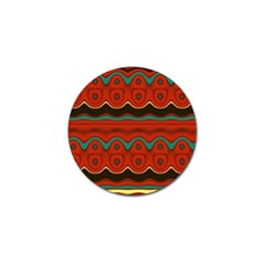 Orange Black And Blue Pattern Golf Ball Marker by theunrulyartist
