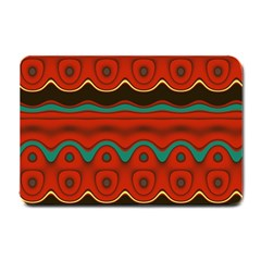 Orange Black And Blue Pattern Small Doormat  by theunrulyartist