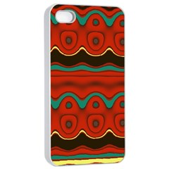 Orange Black And Blue Pattern Apple Iphone 4/4s Seamless Case (white) by theunrulyartist