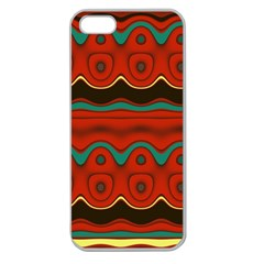 Orange Black And Blue Pattern Apple Seamless Iphone 5 Case (clear) by theunrulyartist