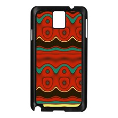 Orange Black And Blue Pattern Samsung Galaxy Note 3 N9005 Case (black) by theunrulyartist