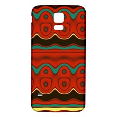 Orange Black And Blue Pattern Samsung Galaxy S5 Back Case (white) by theunrulyartist