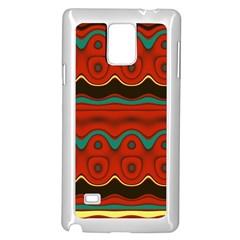 Orange Black And Blue Pattern Samsung Galaxy Note 4 Case (white) by theunrulyartist
