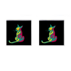 Colorful Abstract Cat  Cufflinks (square) by Valentinaart