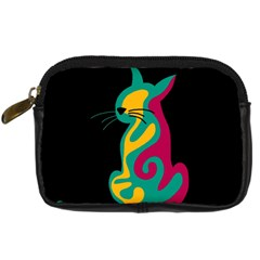 Colorful Abstract Cat  Digital Camera Cases by Valentinaart
