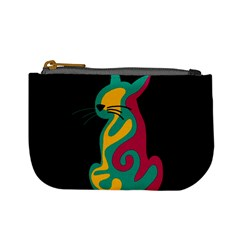Colorful Abstract Cat  Mini Coin Purses by Valentinaart