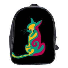 Colorful Abstract Cat  School Bags(large)  by Valentinaart