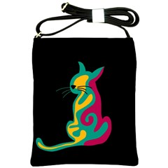Colorful Abstract Cat  Shoulder Sling Bags by Valentinaart