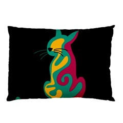 Colorful Abstract Cat  Pillow Case (two Sides) by Valentinaart