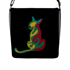 Colorful Abstract Cat  Flap Messenger Bag (l)  by Valentinaart