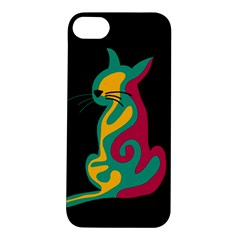 Colorful Abstract Cat  Apple Iphone 5s/ Se Hardshell Case by Valentinaart