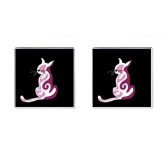 Pink Abstract Cat Cufflinks (square) by Valentinaart