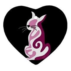Pink Abstract Cat Heart Ornament (2 Sides) by Valentinaart