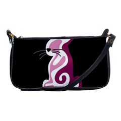 Pink Abstract Cat Shoulder Clutch Bags by Valentinaart