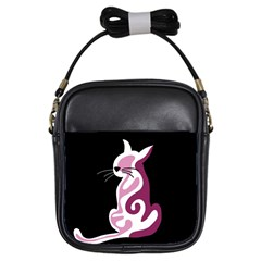 Pink Abstract Cat Girls Sling Bags by Valentinaart