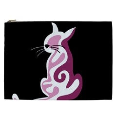 Pink Abstract Cat Cosmetic Bag (xxl)  by Valentinaart