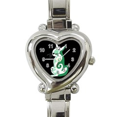 Green Abstract Cat  Heart Italian Charm Watch by Valentinaart