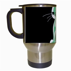 Green Abstract Cat  Travel Mugs (white) by Valentinaart