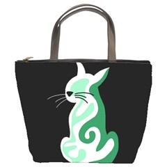 Green Abstract Cat  Bucket Bags by Valentinaart