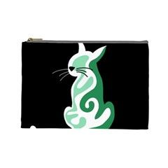 Green Abstract Cat  Cosmetic Bag (large)  by Valentinaart