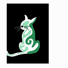 Green Abstract Cat  Large Garden Flag (two Sides) by Valentinaart