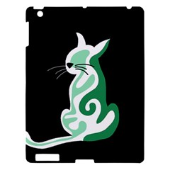 Green Abstract Cat  Apple Ipad 3/4 Hardshell Case by Valentinaart