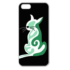 Green Abstract Cat  Apple Seamless Iphone 5 Case (clear) by Valentinaart