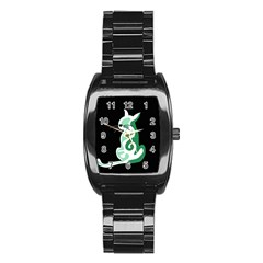 Green Abstract Cat  Stainless Steel Barrel Watch by Valentinaart