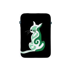 Green Abstract Cat  Apple Ipad Mini Protective Soft Cases by Valentinaart