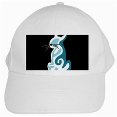 Blue Abstract Cat White Cap by Valentinaart