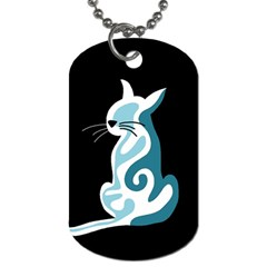 Blue Abstract Cat Dog Tag (two Sides) by Valentinaart
