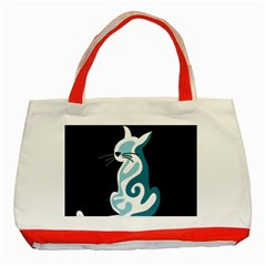 Blue Abstract Cat Classic Tote Bag (red) by Valentinaart