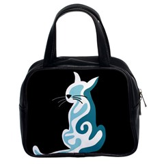 Blue Abstract Cat Classic Handbags (2 Sides) by Valentinaart
