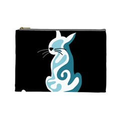 Blue Abstract Cat Cosmetic Bag (large)  by Valentinaart