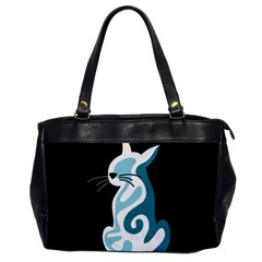 Blue Abstract Cat Office Handbags by Valentinaart