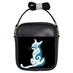Blue Abstract Cat Girls Sling Bags by Valentinaart