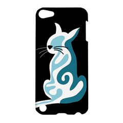 Blue Abstract Cat Apple Ipod Touch 5 Hardshell Case by Valentinaart