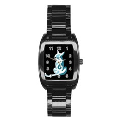 Blue Abstract Cat Stainless Steel Barrel Watch by Valentinaart