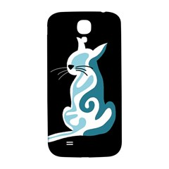 Blue Abstract Cat Samsung Galaxy S4 I9500/i9505  Hardshell Back Case by Valentinaart