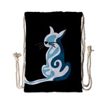 Blue abstract cat Drawstring Bag (Small) Front