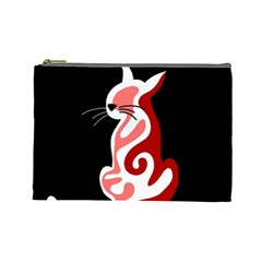 Red Abstract Cat Cosmetic Bag (large)  by Valentinaart